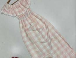 فستان قماش كارو مرتب ون سايز بيلبس من وزن ...