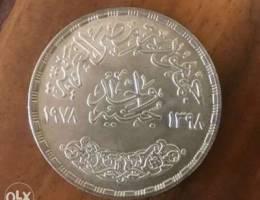 واحد جنيه تذكاري فضة ١٩٧٨ العيد الذهبي ل ش...